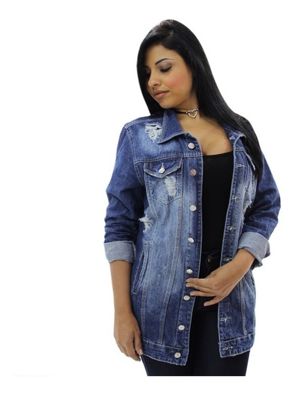Jaqueta Jeans Plus Size Destroyed Moda Grande 44 Ao 54 Lindo