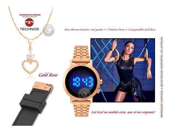 Relógio Led Azul Rose Gold Digital Euro + Pulseira Original