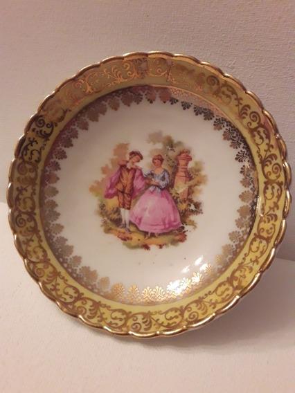 Pequeño Plato Antiguo Porcelana Limoges Pieza + De 100 Años.