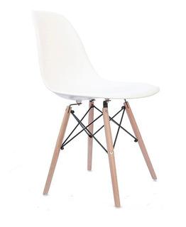 Silla Eames Patas De Madera Color Blanco - Prestigio