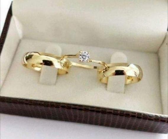 Pra Alianças Banhadas A Ouro 18 K 6mm +anel Solitário