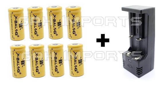 Carregador Duplo + 8 Baterias Gold 16340 Cr123a Recarregável