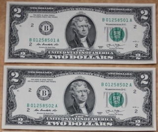 Billetes Mundiales Usa Estados Unidos 2 Bill Dos Dolares 201