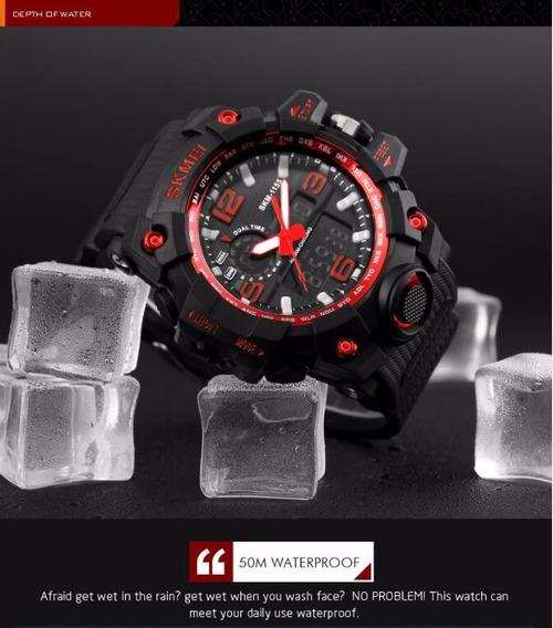 Relógio Masculino Militar Funcional Mod.1155 Skmei Vermelho