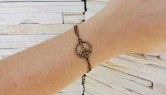 Pulseira Feminina Pingente Paz E Amor Hippie Boho Chic