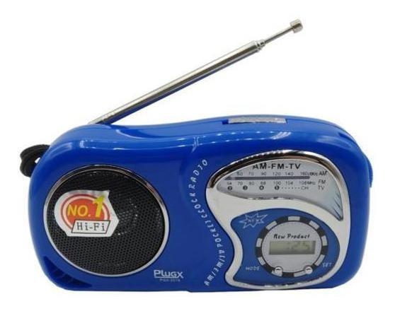Rádio Am/fm Portátil Com Relógio Digital Pgx-2019 - Azul