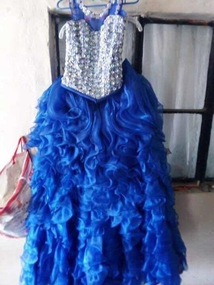 Vestido De Quince Años Azul Rey 3 Piezas Con Sus Accesorios