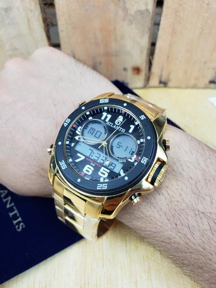 Relógio Atlantis Original Dourado 2 Em 1 Digital E Analógico