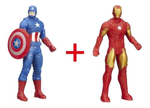 Imagem 1 de 4 de Boneco Homem De Ferro + Capitão América - 15 Cm Hasbro