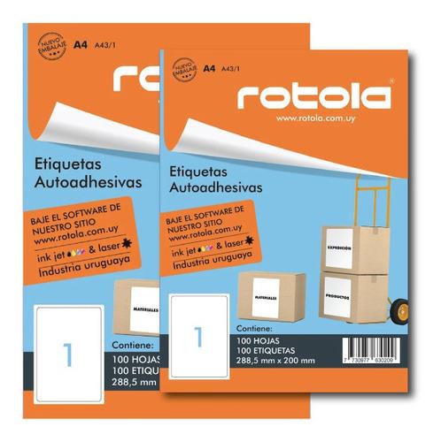 Etiquetas Imprimibles Rotola A4/ 1 - 100 Unidades. 288.5x200