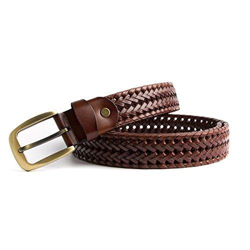 ECHAIN Cintur/ón de cuero genuino trenzado para hombre