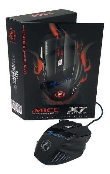 Kit 5 Mouse Gamer X7 2400dpi Usb Led 6 Botões + Double Click