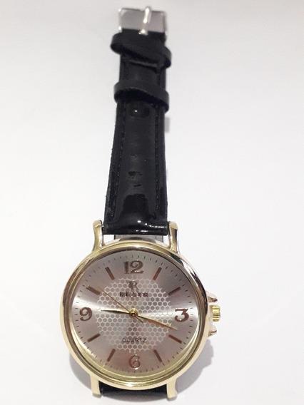 Relógio Pulso Feminino Dourado Pulseira Preta Quartz