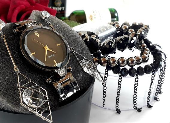 Relógio Feminino + 3 Pulseiras + Brincos + Caixa + Bateria R