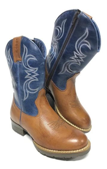 Bota Texana Country Infantil Bico Redondo Marrom Com Cano Azul Couro Legítimo - Confortável Com Costura Reforçada!