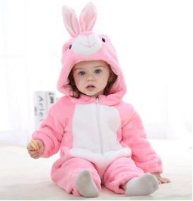 Macacão Bebê Pijama Bichinho Fantasia Coelho Rosa C/ Ziper