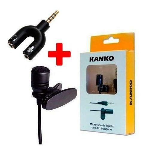 Kit Microfone De Lapela Profissional + Adaptador P2 P3 Celular Câmera Youtubers
