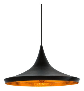 Colgante Concavo Negro Interior Dorado Decorativo - Markas
