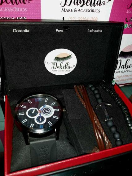Kit Relógios Masculinos Couro E Pulseira.