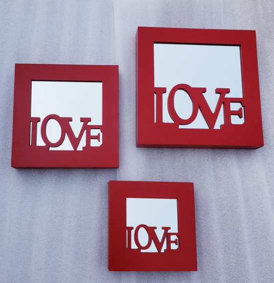 Moderno Juego De 3 Cuadros Con Espejo Love