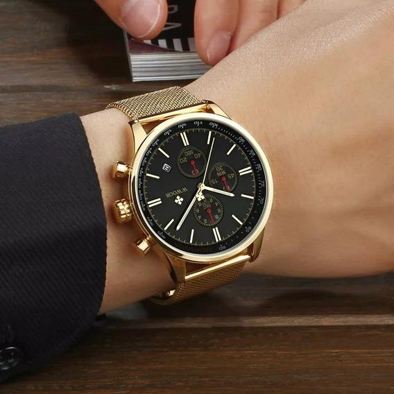 Relógio Luxo Unisex Wwoor No-wr 8862 Dourado