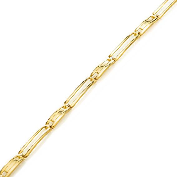 Pulseira De Ouro 18k Articulada Vazada Com 21cm Pu04973 Puls