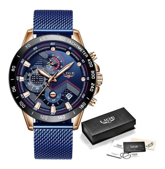 Relógio Masculino De Luxo Esportivo Lige Quartzo Original