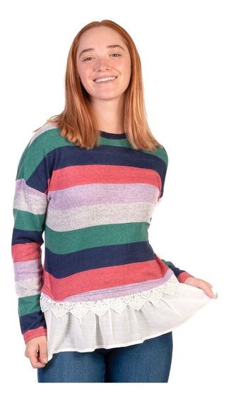 Suéter Tejido A Rayas Para Mujer Con Blusa Simulada