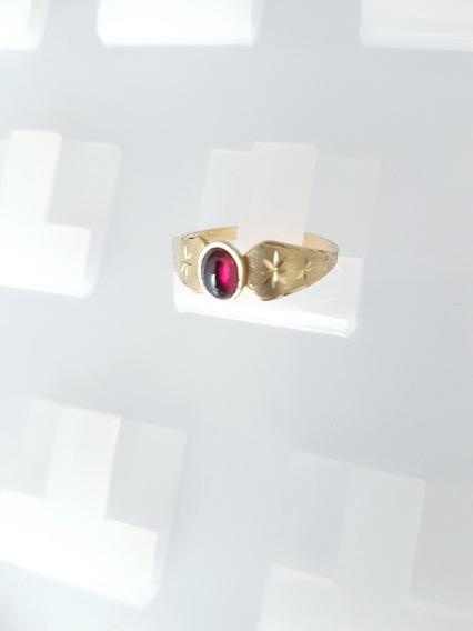 Anel Ouro 750 Kilate Pedra Preciosa Natural Granada Rodolita