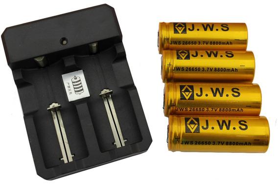 4 Bateria 26650 3.7v 8800mah Recarregável + Carregador Duplo