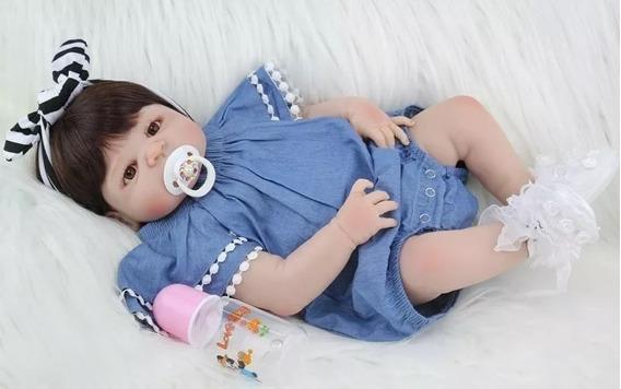 Boneca Realista Menina Reborn 100% Silicone 55cm Promoção
