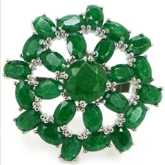 Grande Anillo Con Piedra Raíz Esmeralda Verde Plata #8