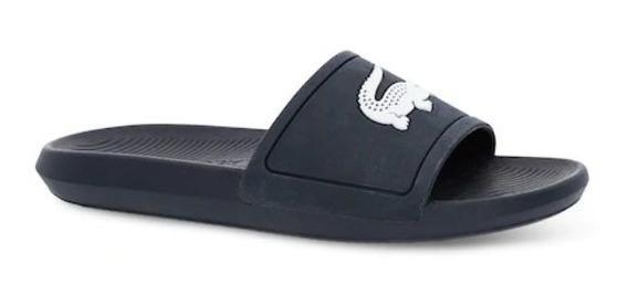 Chinelo Lacoste Slide Masculino Croco Em Borracha Azul