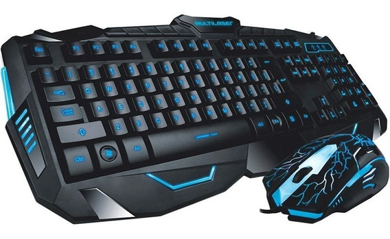 Combo Gamer Multilaser Lightning Mouse 2.000dpi Teclado Ilum
