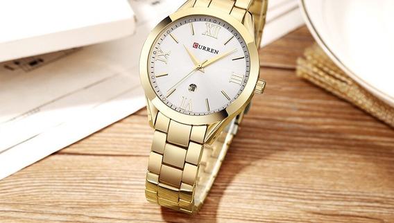 Relógio Luxo Feminino Curren 9007 Rosê Dourado