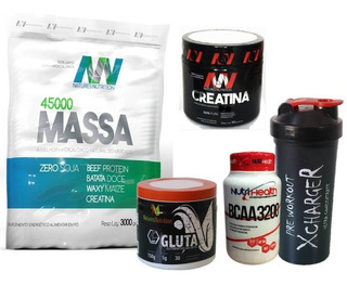 Kit Crescer Massa Chocolate + Bcaa + Crea + Gluta + Shaker