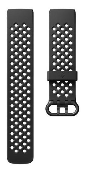 Malla De Silicona Para Fitbit Charge 3 - Talle S - Negro