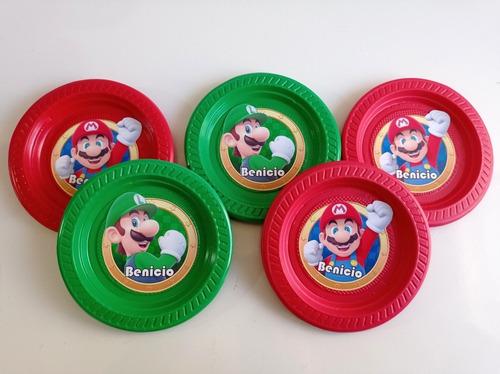 Imagen 1 de 10 de Platos Mario Bros Cumpleaños Decoración
