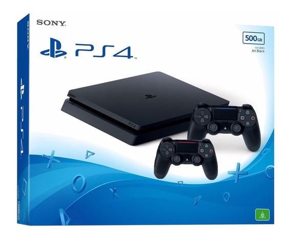 Ps4 Playstation4 Slim 500gb+2 Controles Novo Com Nota Fiscal