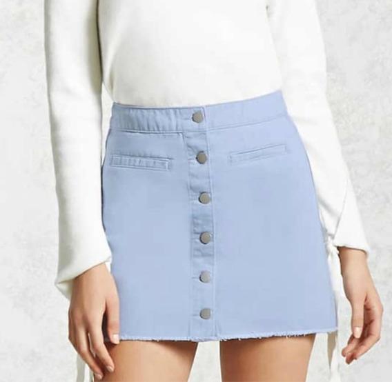 Minifalda Azul Cielo Con Botones Forever21 Mujer