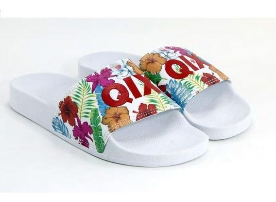 Chinelo Slide Branco/florido 100% Original Qix Promoção