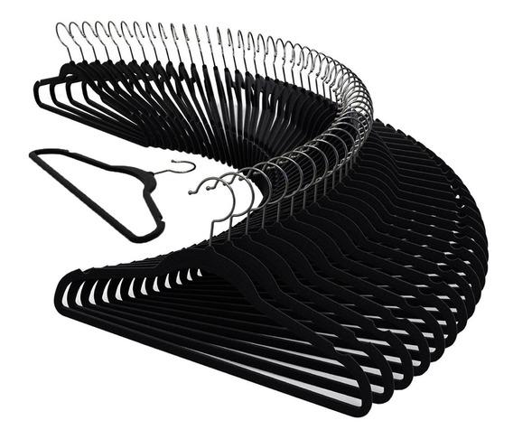 Kit 50 Cabide Veludo Slim Ultra Fino 45cm Não Escorrega