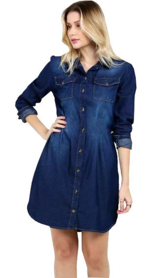 Vestido Chemise Feminino Jeans Camisão Manga Longa Inverno