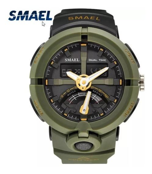 Relógio Militar Smael Army Green - P. Choque - Frete Grátis