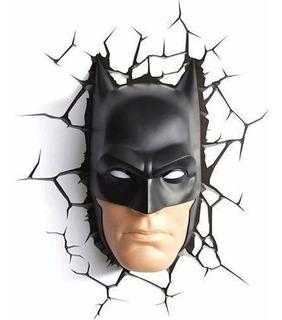 Luminária De Parede Máscara Rosto Batman Dc 3d Light Fx