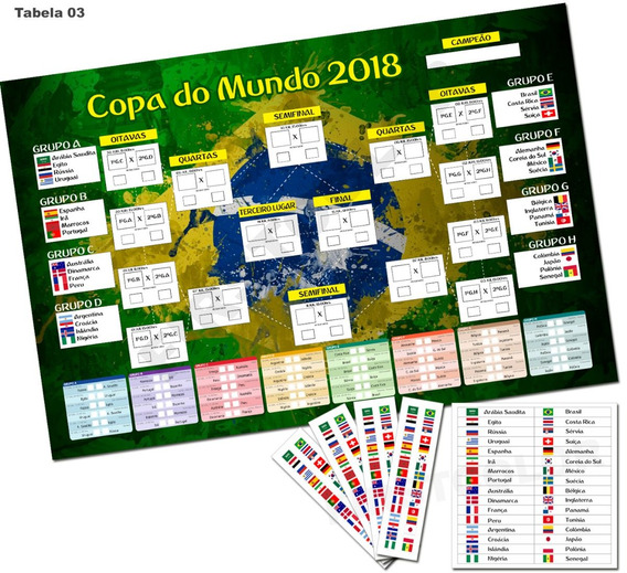 Placa Tabela Copa Do Mundo 2018 Editável Mdf3mm Mod03
