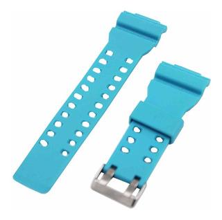 Pulseira P/ Relógio Borracha De Silicone Azul Claro 16 Mm