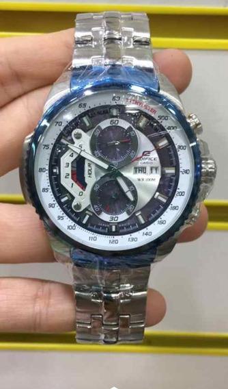 Relógio Hx017b Casio Edifice Ef558c Branco Inox Exclusive