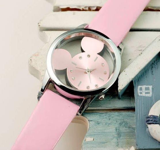Relógio Feminino Juvenil Mickey Vazado Transparente Lindo
