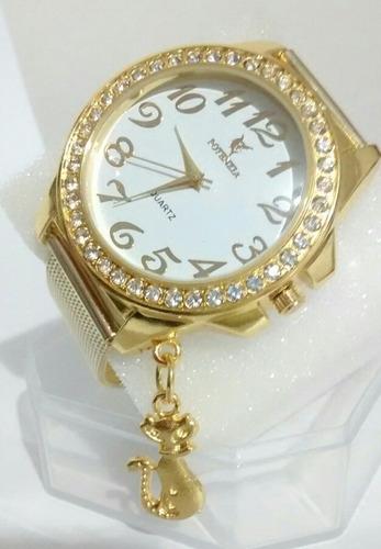 Relógio Feminino Dourado Luxo Delicado Para Mulheres
